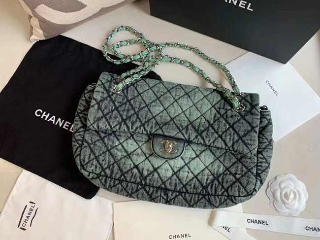 CHANEL Denim flap bag AS1113 green