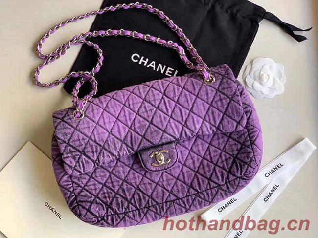 CHANEL Denim flap bag AS1113 purple