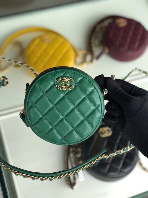 CHANEL Sheepskin Chain packet A0725 green