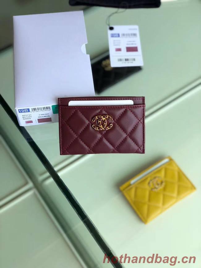 Chanel 19 Card sleeve AP0731 Burgundy