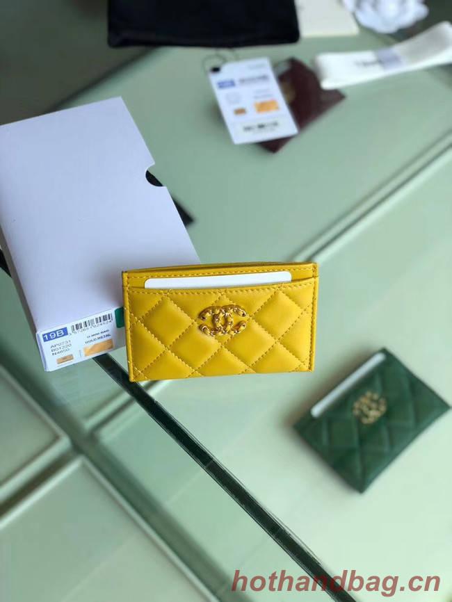 Chanel 19 Card sleeve AP0731 yellow