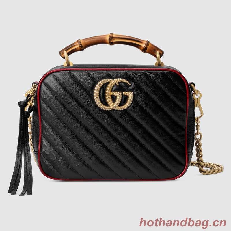 Gucci GG Marmont series small bamboo shoulder bag 602270 black