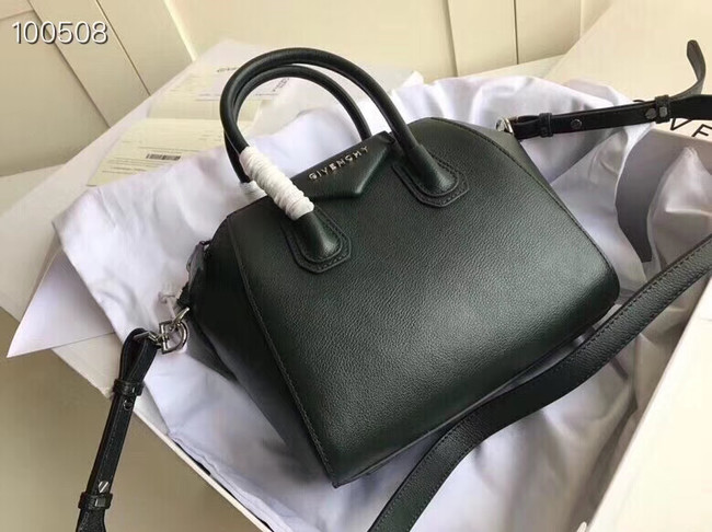 Givenchy Grained Calfskin Small Antigona Bag BB0511 Blackish green