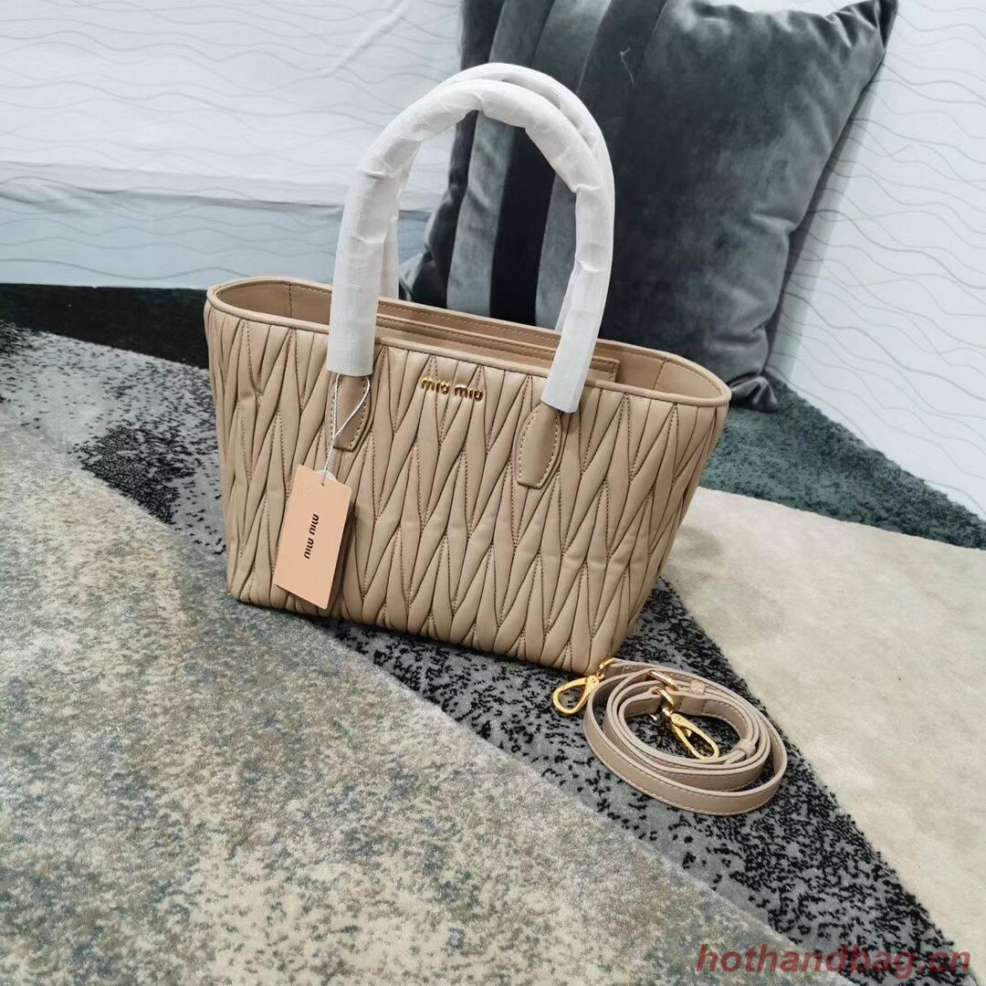 miu miu Matelasse Nappa Leather Top-handle Bag 5BG163 Apricot