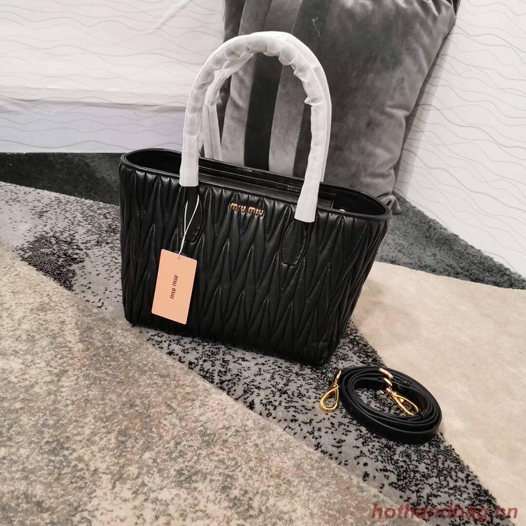 miu miu Matelasse Nappa Leather Top-handle Bag 5BG163 black