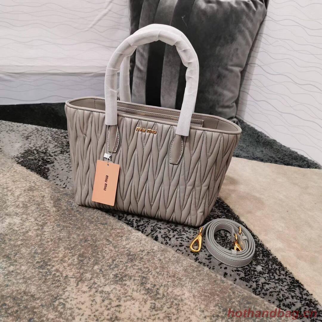 miu miu Matelasse Nappa Leather Top-handle Bag 5BG163 grey