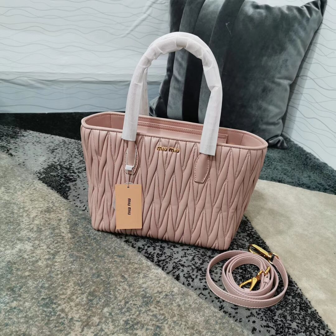 miu miu Matelasse Nappa Leather Top-handle Bag 5BG163 pink