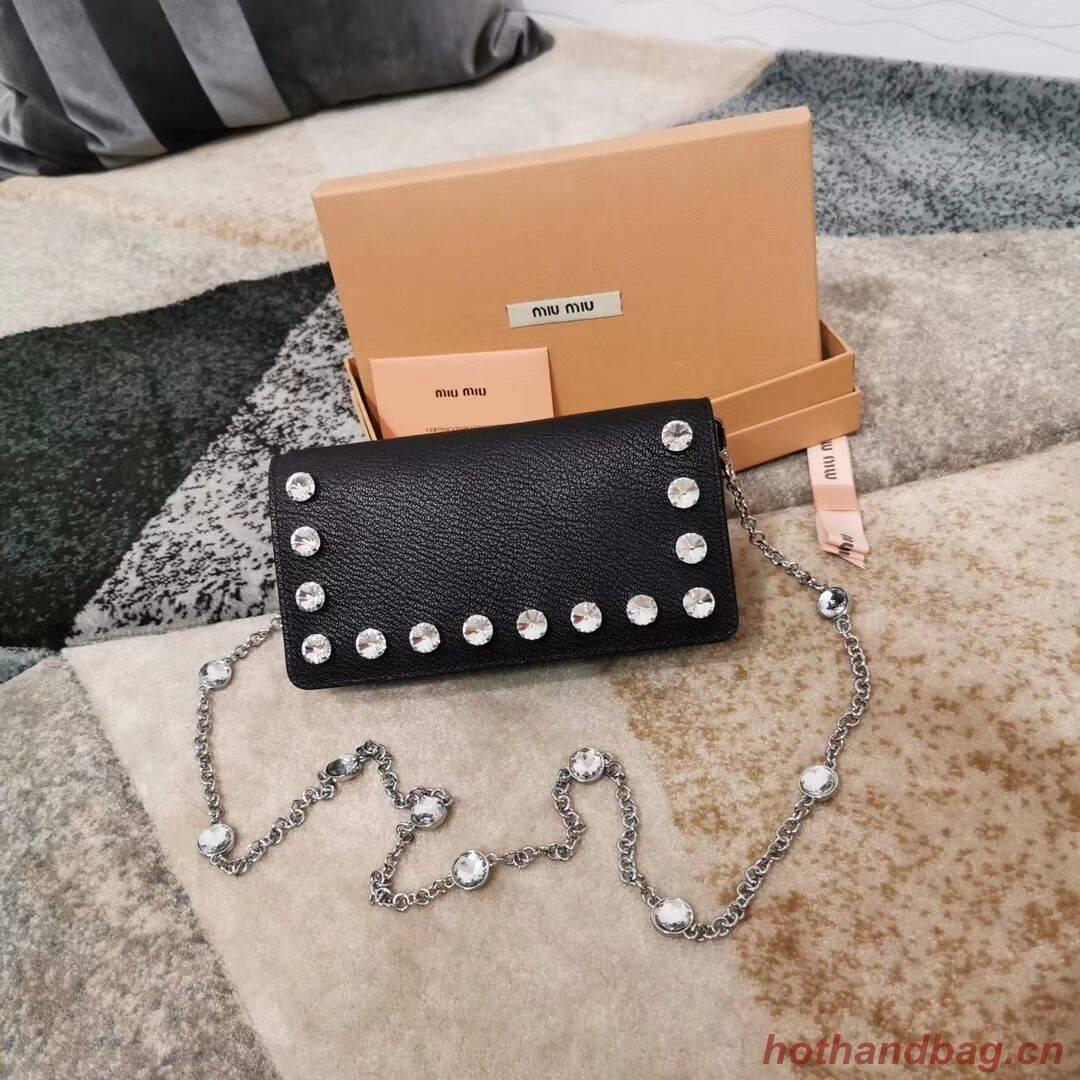 miu miu Matelasse Nappa Leather Clutch 5DH044 black