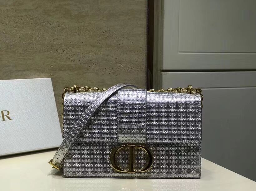 Dior 30 MONTAIGNE SMOOTH CALFSKIN FLAP BAG C9230 silvery