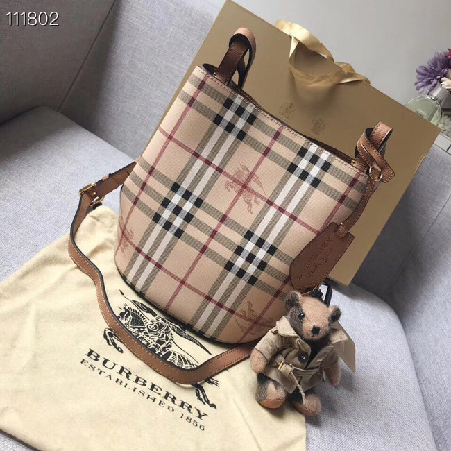 BURBERRY Banner small vintage check and leather tote Bag 1581 brown