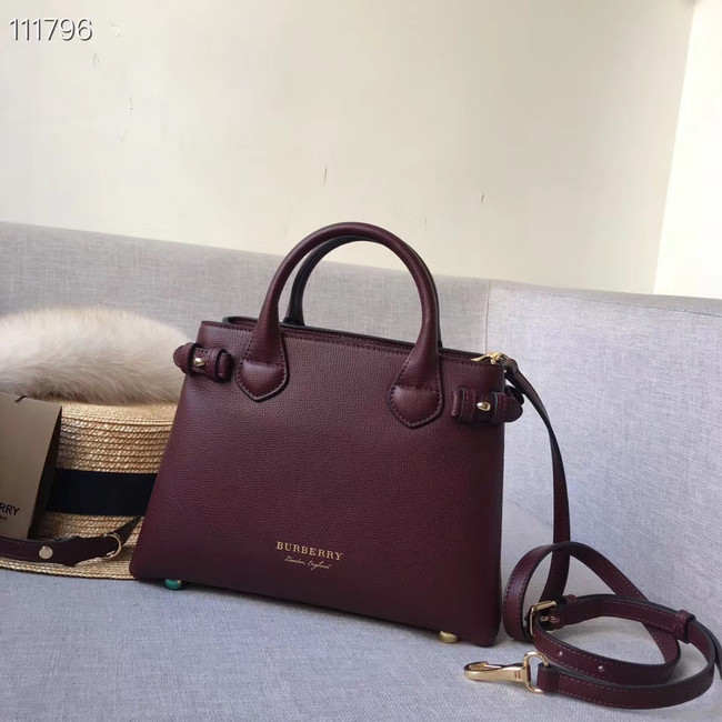 BurBerry Leather Tote Bag 7461 Burgendy