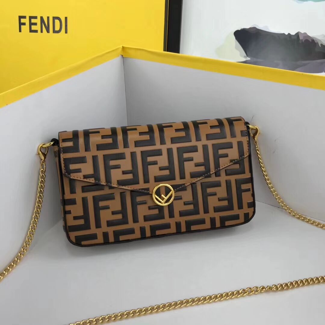 Fendi WALLET ON CHAIN WITH POUCHES leather mini-bag 8BS032 apricot