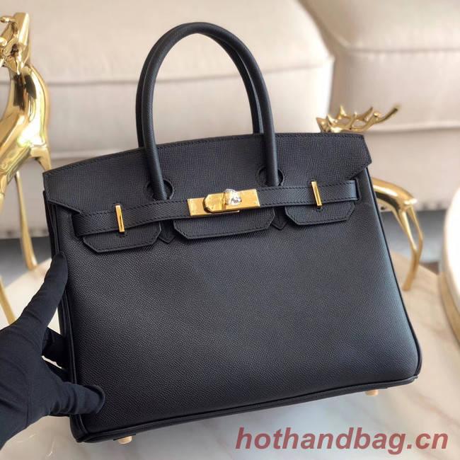 Hermes original Epsom Leather HB35O black&gold Metal