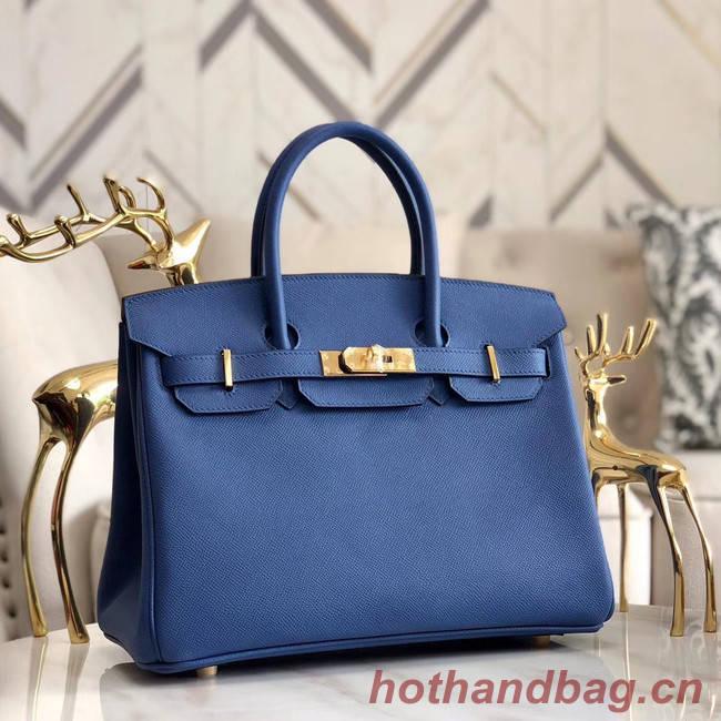 Hermes original Epsom Leather HB35O blue&gold Metal