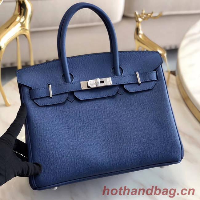 Hermes original Epsom Leather HB35O blue&silver Metal