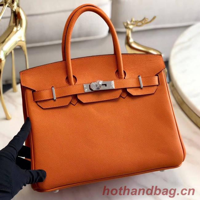 Hermes original Epsom Leather HB35O orange&silver Metal