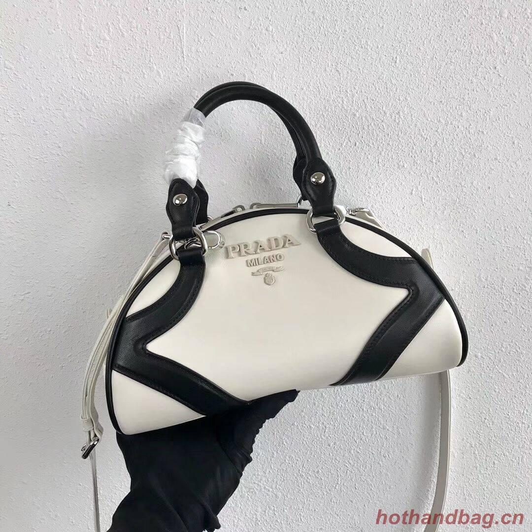 Prada Calf skin tote 1BD071 white&black