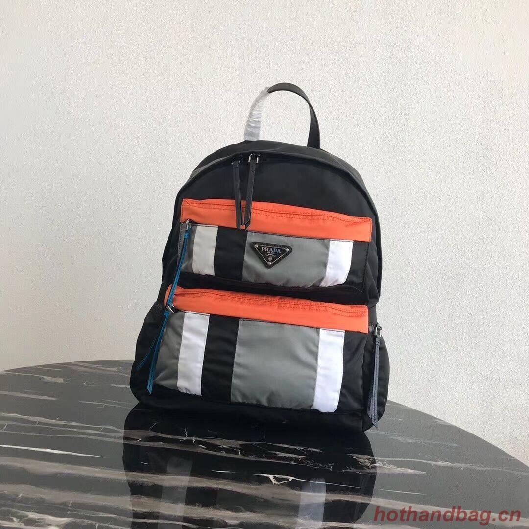 Prada Printed technical fabric backpack 2VZ025 black&orange