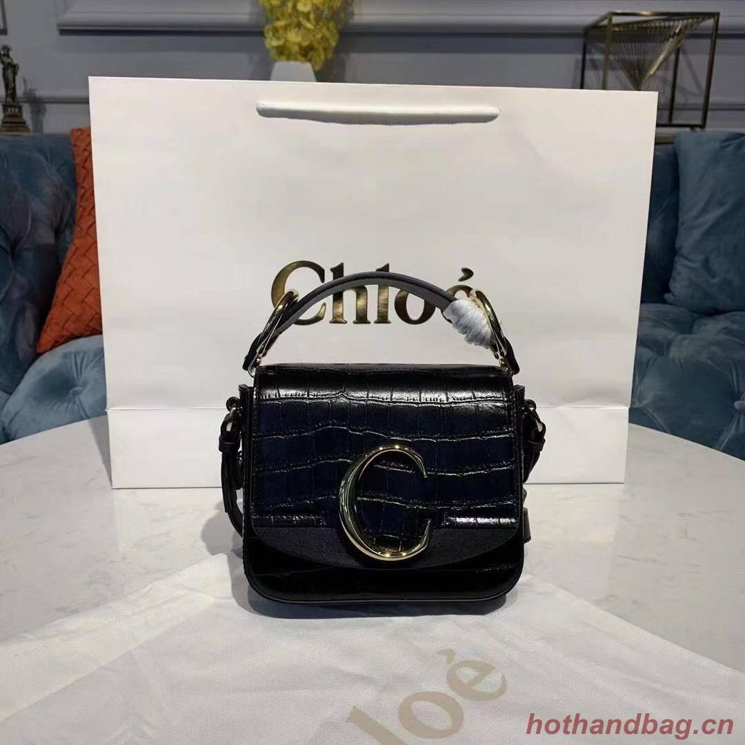 Chloe Original Crocodile skin Leather Top Handle Small Bag 3S030 Black