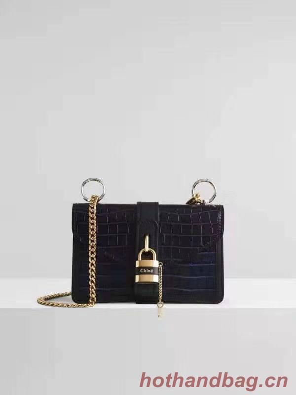 Chloe Original Crocodile skin Leather Bag 3S068 Black