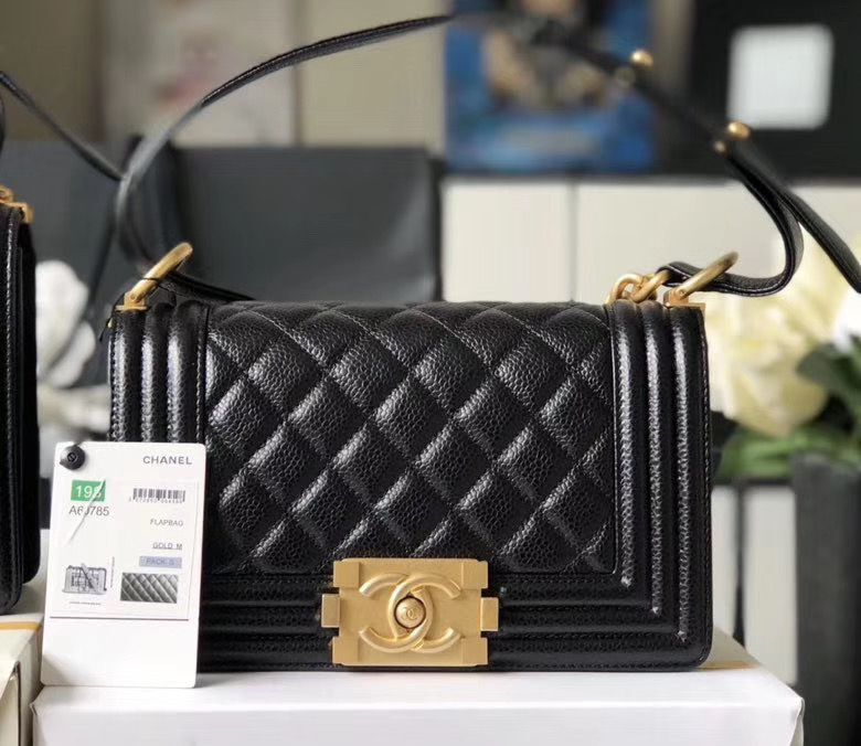 Chanel Le Boy Flap Shoulder Bag Original Cavier Leather A67085 Black Gold Buckle