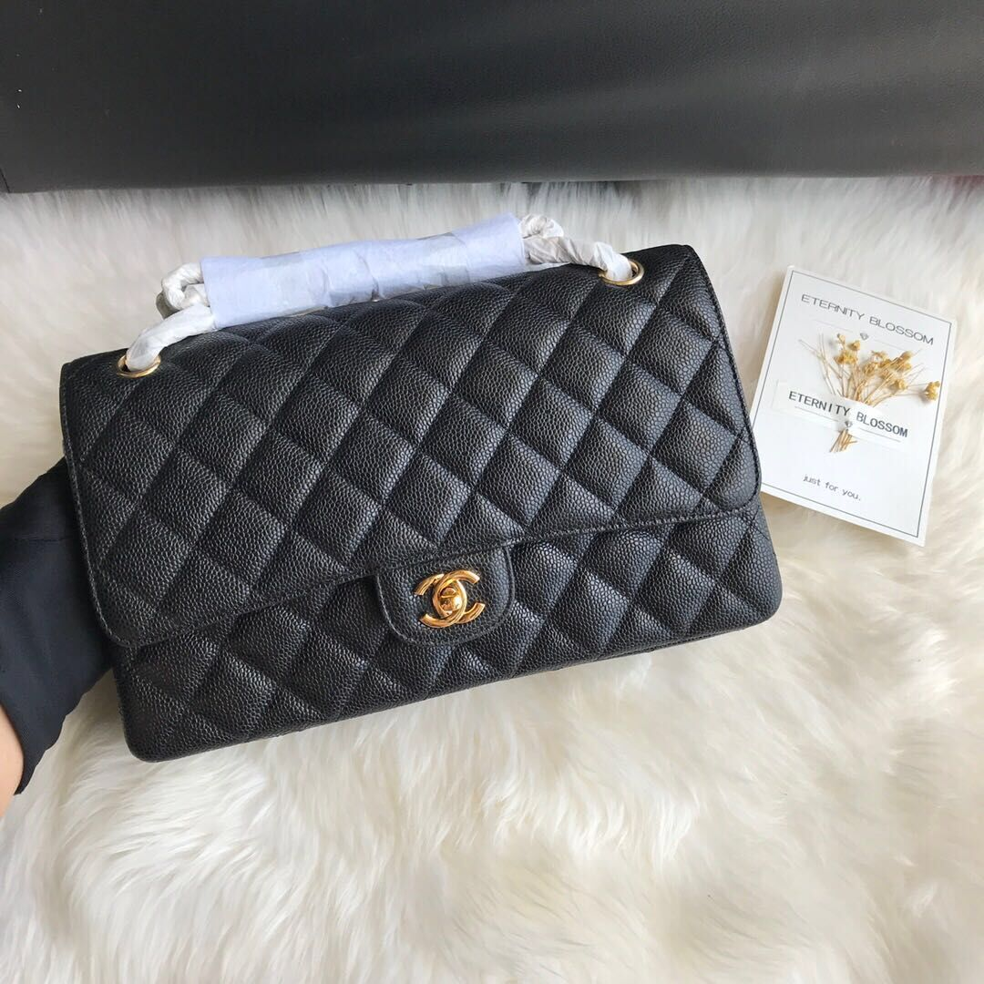 Chanel Double Flaps Bags Black Original Caviar Leather A36097 Gold