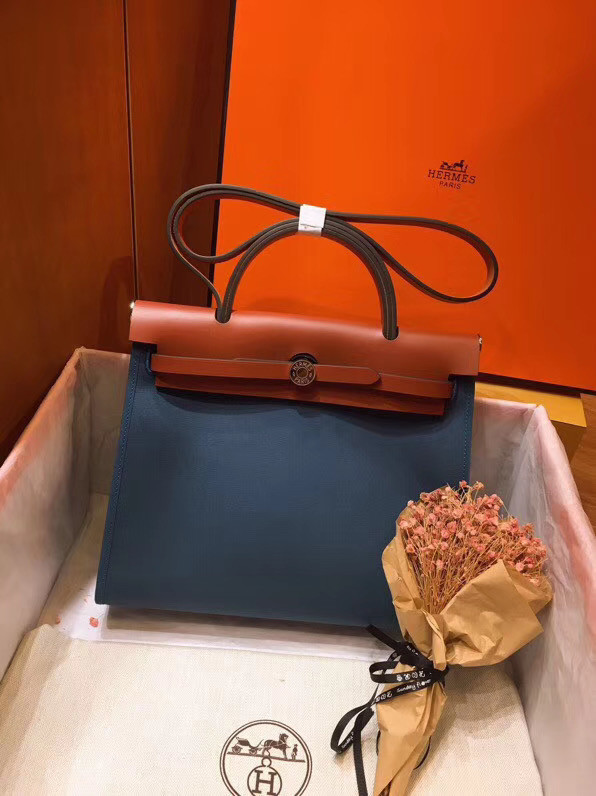 Hermes Herbag 31CM Original Canvas Leather & Calfskin 45987 Blue&Brown