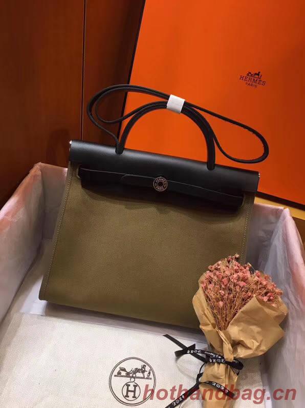 Hermes Herbag 31CM Original Canvas Leather & Calfskin 45987 green&Black