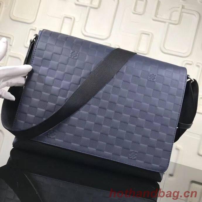 LOUIS VUITTON ORIGINAL LEATHER MESSENGER BAG N41038 N41035 BLUE