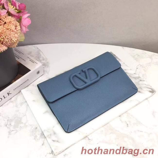 VALENTINO Origianl leather 065 Clutch bag blue