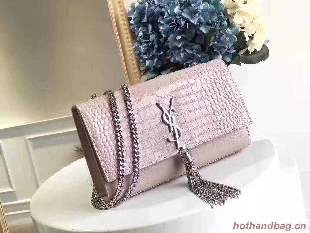 Yves Saint Laurent Crocodile Original Leather Shoulder Bag 1456 Pink&Silver