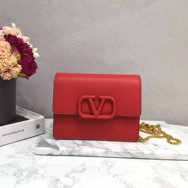 VALENTINO Origianl leather 069 Chain bag red