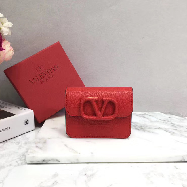 VALENTINO Origianl leather Card Holder 062 red