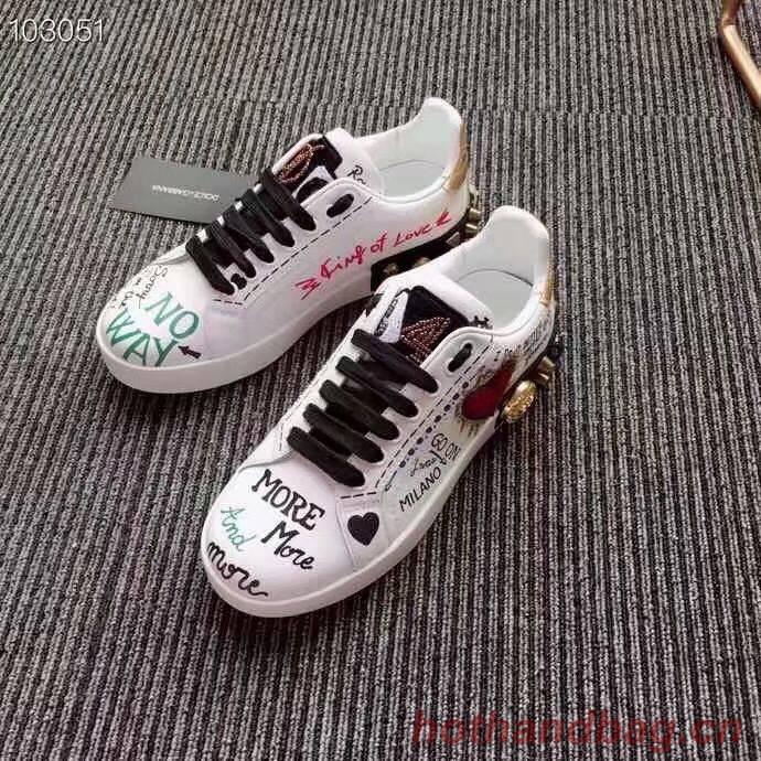 Dolce & Gabbana Heart Graffiti Sneakers DG6598 White