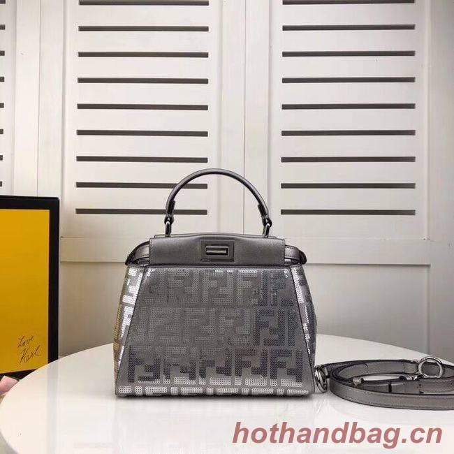 FENDI PEEKABOO ICONIC leather bag F0335 Silver