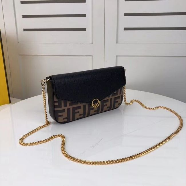 Fendi WALLET ON CHAIN WITH POUCHES leather mini-bag F0005 black&brown