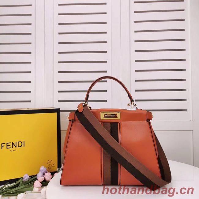 FENDI PEEKABOO ICONIC leather bag F0826 orange