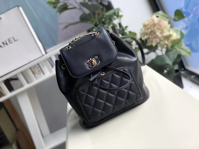 Chanel backpack Grained Calfskin & Gold-Tone Metal A57571 black