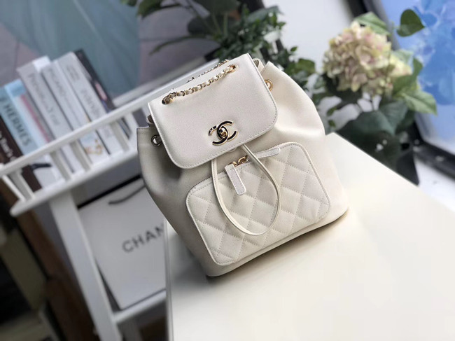 Chanel backpack Grained Calfskin & Gold-Tone Metal A57571 white