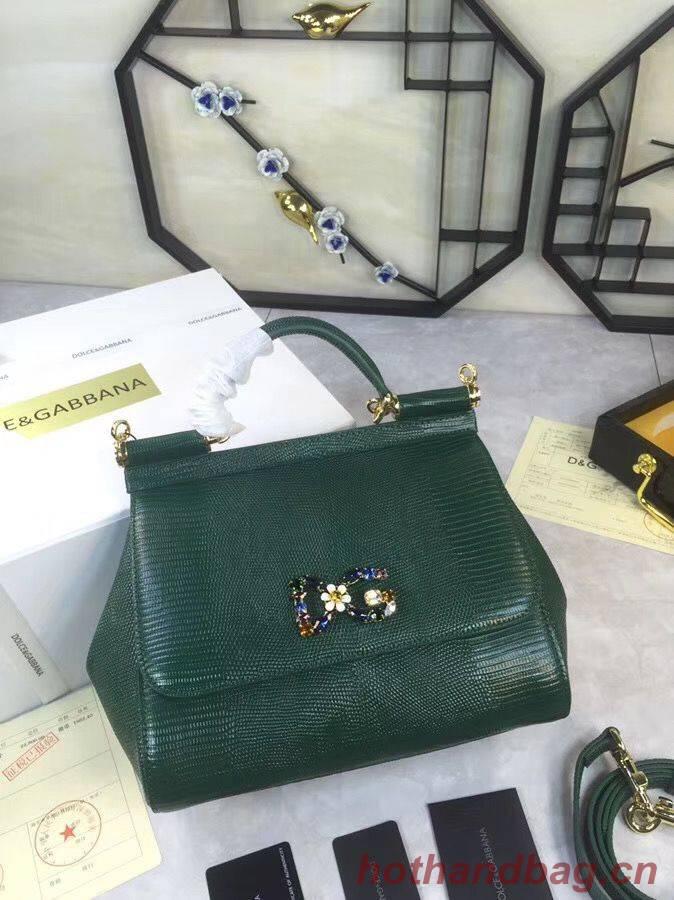 Dolce & Gabbana SICILY Lizard Pattern Tote Bag BB4137 Green