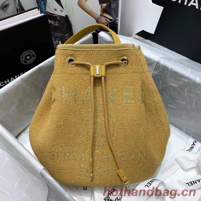 CHANEL Tweed Calfskin drawstring bag & Gold-Tone Metal 60588 yellow