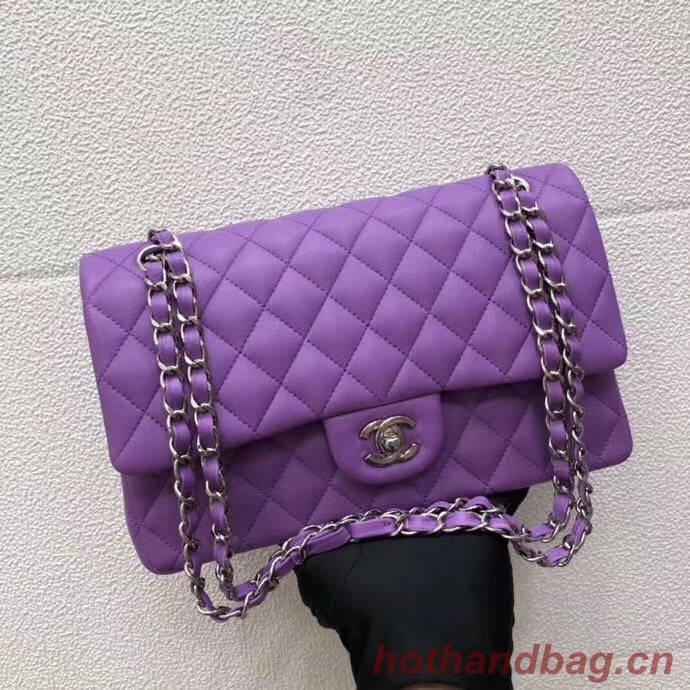 CHANEL Classic Handbag Lambskin purple 1112 & Silver-Tone Metal