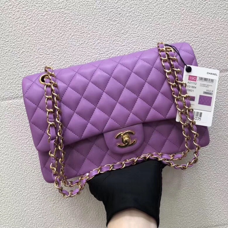 CHANEL Classic Handbag Lambskin purple 1112 & gold-Tone Metal