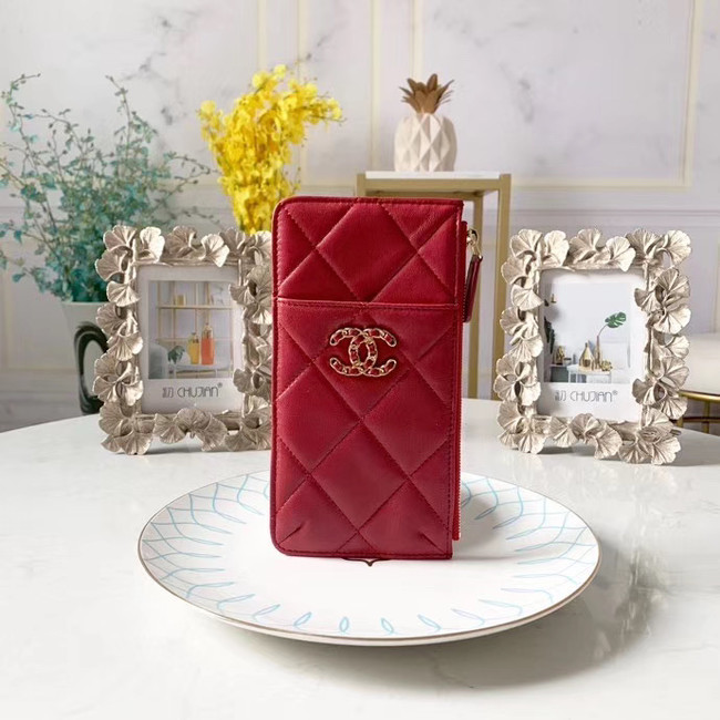 CHANEL 19 Mobile phone case Card Holder AP1182 red