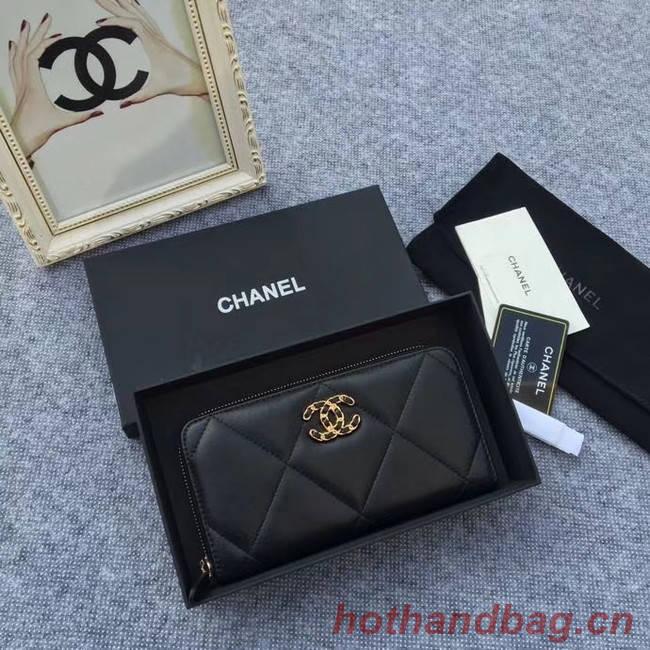 CHANEL 19 sheepskin & Gold-Tone Metal Wallet AP1063 black