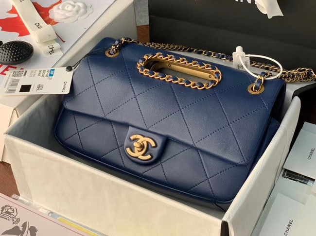 Chanel Flap Bag Original Sheepskin Leather AS1466 Navy Blue