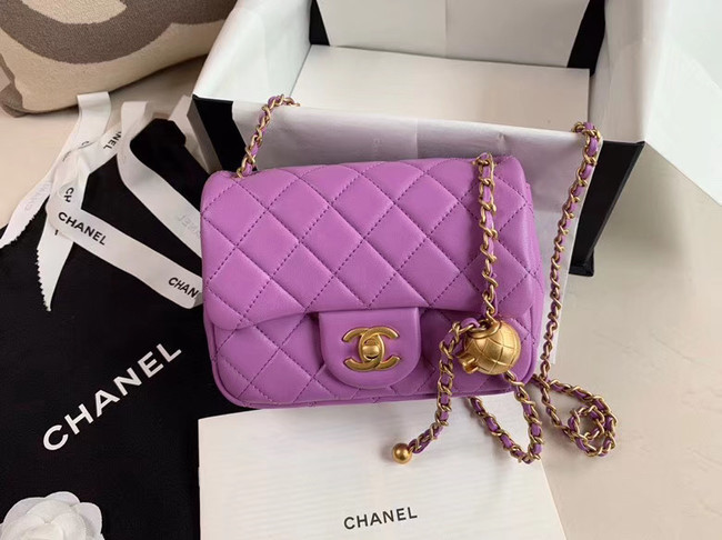 Chanel MINI Flap Bag Original Sheepskin Leather AS1786 purple