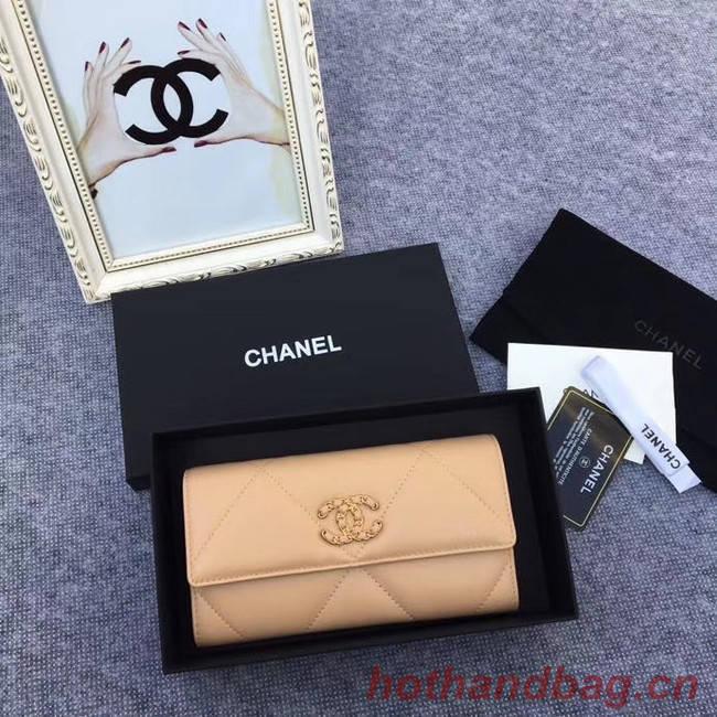 Chanel sheepskin & Gold-Tone Metal Wallet AP0955 apricot