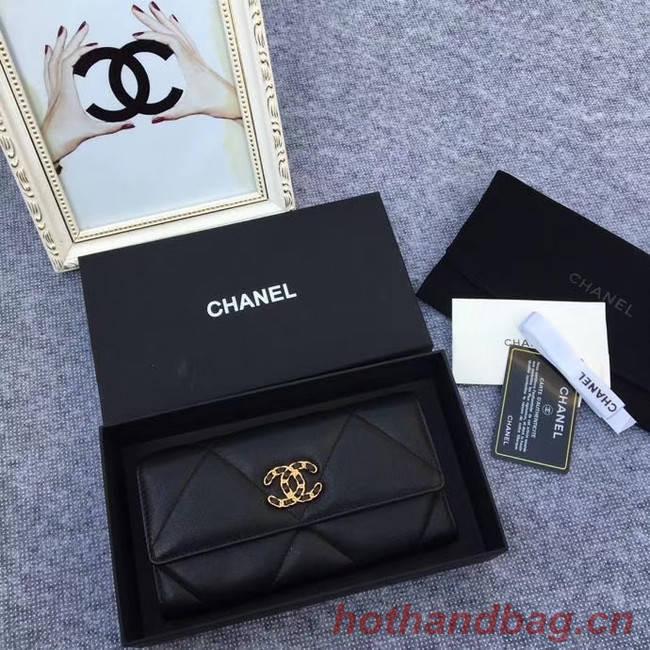 Chanel sheepskin & Gold-Tone Metal Wallet AP0955 black