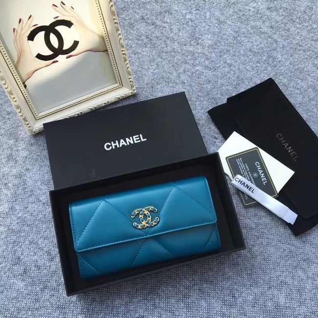 Chanel sheepskin & Gold-Tone Metal Wallet AP0955 blue